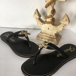 Skechers Cali Black Gold Starfish Sandals Size 7